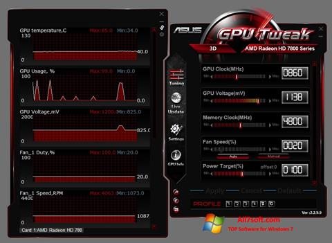 Ekrānuzņēmums ASUS GPU Tweak Windows 7