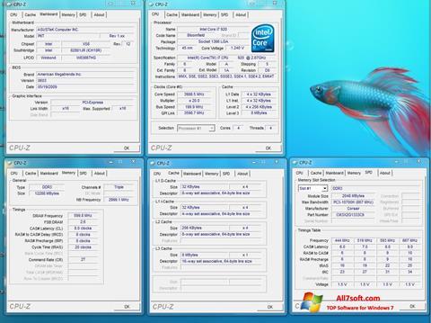 Ekrānuzņēmums CPU-Z Windows 7