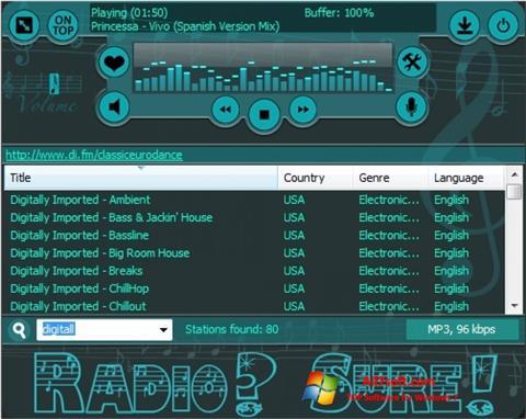 Ekrānuzņēmums RadioSure Windows 7