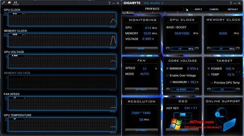 Ekrānuzņēmums GIGABYTE OC Guru Windows 7