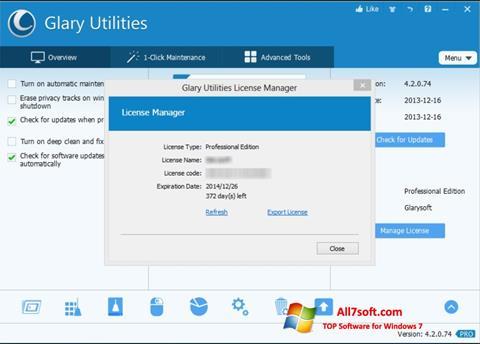 Ekrānuzņēmums Glary Utilities Windows 7
