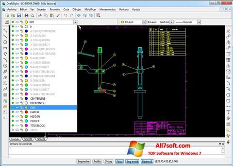 Ekrānuzņēmums DraftSight Windows 7