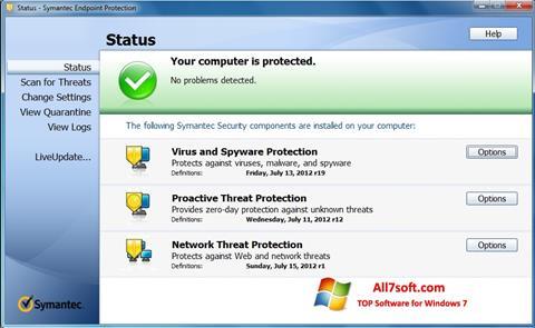 Ekrānuzņēmums Symantec Endpoint Protection Windows 7