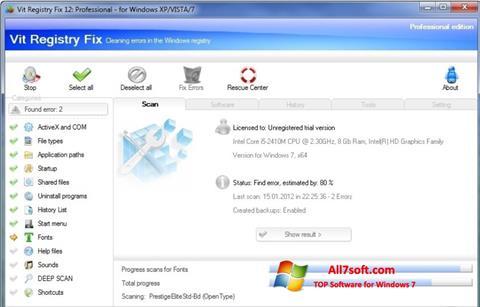 Ekrānuzņēmums Vit Registry Fix Windows 7