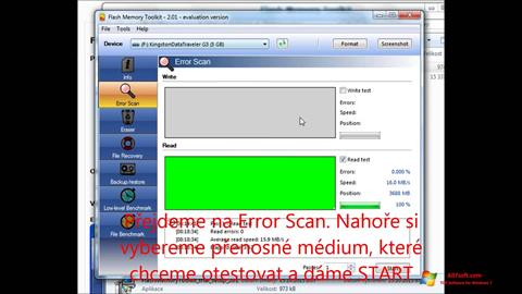 Ekrānuzņēmums Flash Memory Toolkit Windows 7
