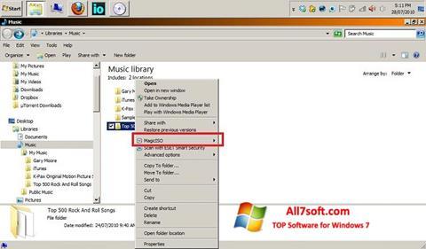 Ekrānuzņēmums MagicISO Windows 7
