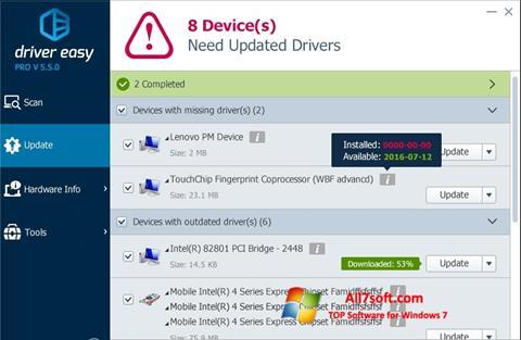 Ekrānuzņēmums Driver Easy Windows 7