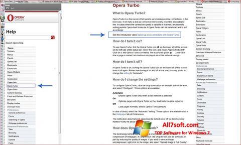 Ekrānuzņēmums Opera Turbo Windows 7