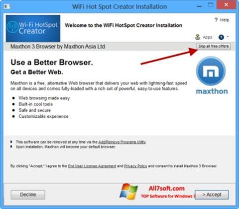 Ekrānuzņēmums Wi-Fi HotSpot Creator Windows 7