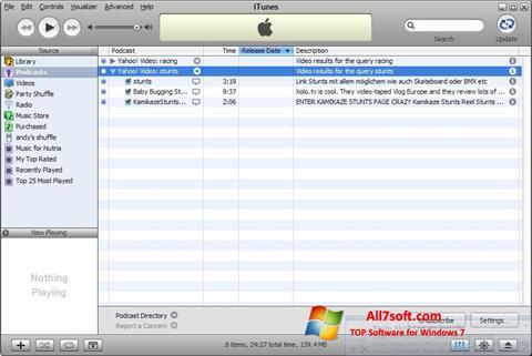 Ekrānuzņēmums iTunes Windows 7