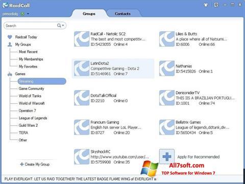 Ekrānuzņēmums RaidCall Windows 7