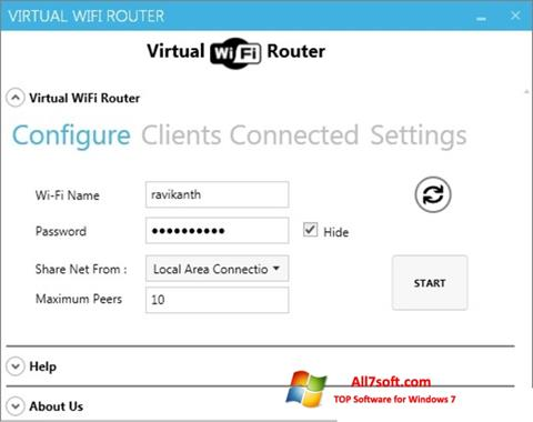 Ekrānuzņēmums Virtual WiFi Router Windows 7
