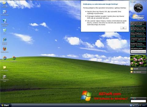 Ekrānuzņēmums Google Desktop Windows 7