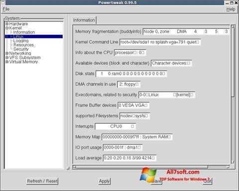 Ekrānuzņēmums PowerTweak Windows 7