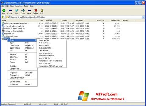 Ekrānuzņēmums 7-Zip Windows 7