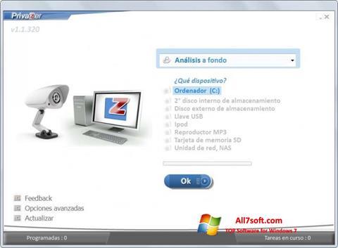 Ekrānuzņēmums PrivaZer Windows 7