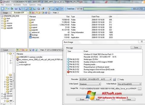 Ekrānuzņēmums UltraISO Windows 7