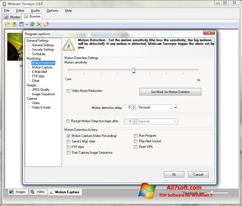 Ekrānuzņēmums Webcam Surveyor Windows 7
