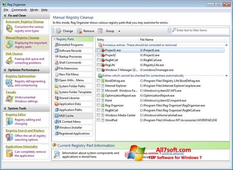 Ekrānuzņēmums Reg Organizer Windows 7