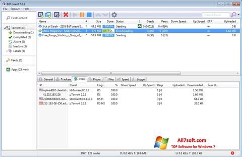 Ekrānuzņēmums BitTorrent Windows 7