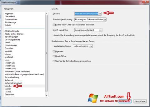 Ekrānuzņēmums Adobe Reader Windows 7