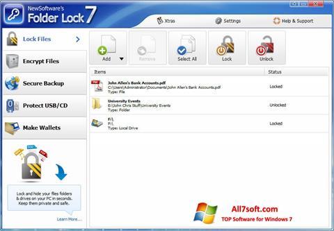 Ekrānuzņēmums Folder Lock Windows 7