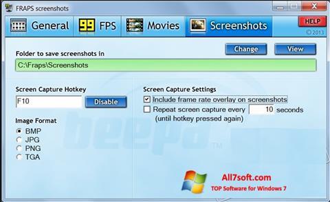 Ekrānuzņēmums Fraps Windows 7