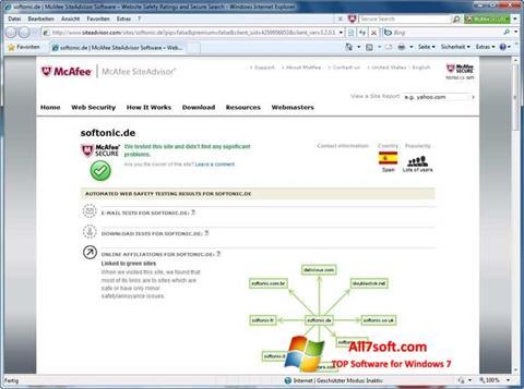 Ekrānuzņēmums McAfee SiteAdvisor Windows 7