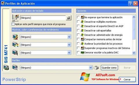 Ekrānuzņēmums PowerStrip Windows 7