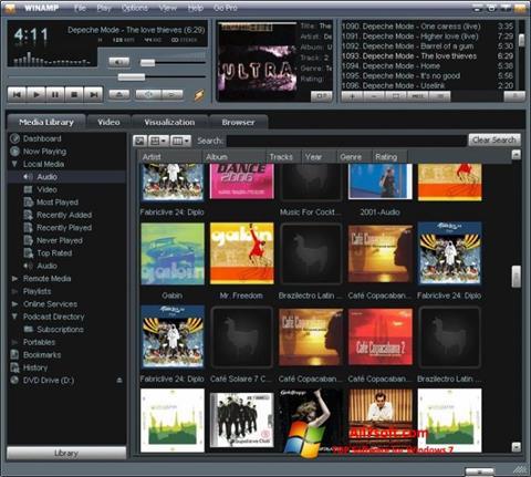 Ekrānuzņēmums Winamp Windows 7