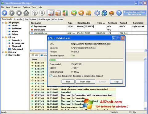 Ekrānuzņēmums Download Master Windows 7