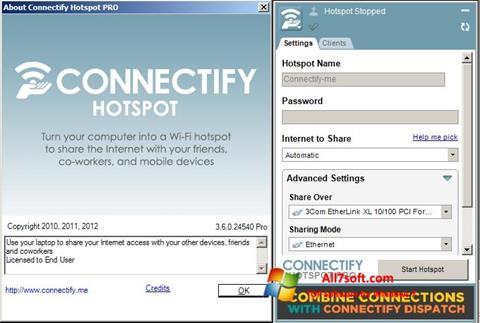 Ekrānuzņēmums Connectify Hotspot PRO Windows 7