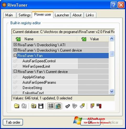 Ekrānuzņēmums RivaTuner Windows 7
