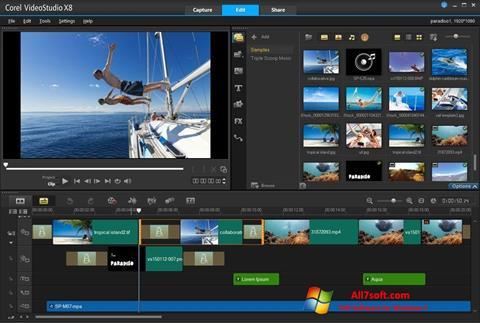Ekrānuzņēmums Corel VideoStudio Windows 7