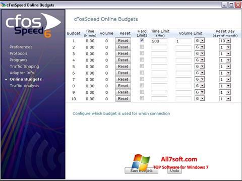 Ekrānuzņēmums cFosSpeed Windows 7