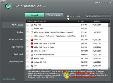 Ekrānuzņēmums IObit Uninstaller Windows 7