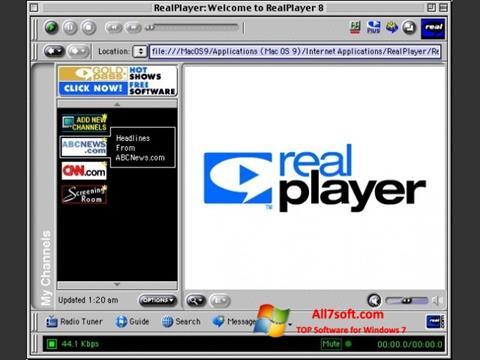 Ekrānuzņēmums RealPlayer Windows 7