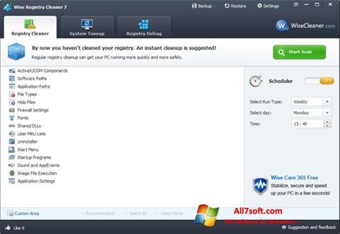 Ekrānuzņēmums Wise Registry Cleaner Windows 7