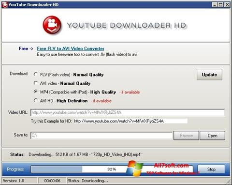 Ekrānuzņēmums Youtube Downloader HD Windows 7