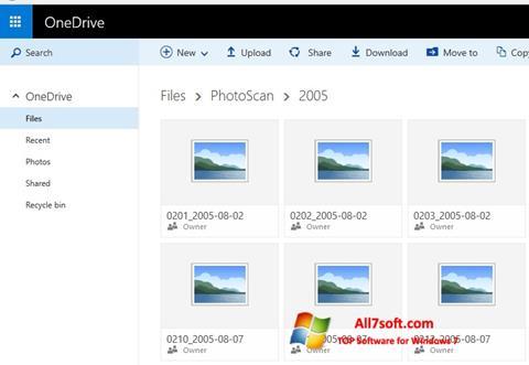 Ekrānuzņēmums OneDrive Windows 7