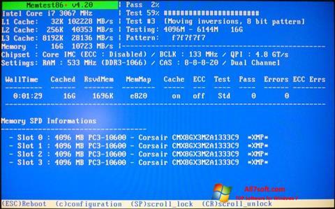 Ekrānuzņēmums MemTest Windows 7