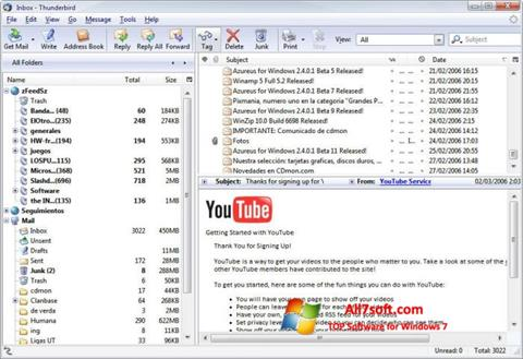 Ekrānuzņēmums Mozilla Thunderbird Windows 7