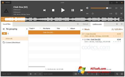 Ekrānuzņēmums AIMP Windows 7