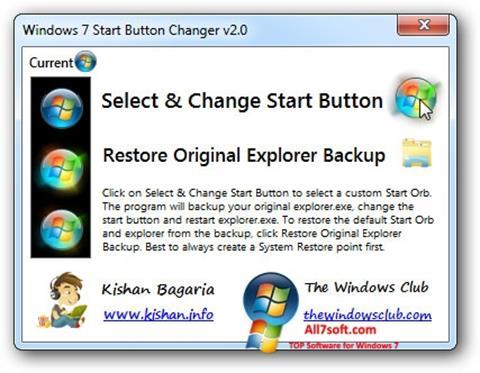 Ekrānuzņēmums Windows 7 Start Button Changer Windows 7